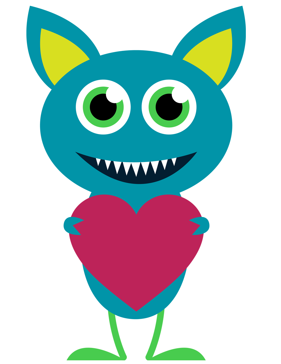 Valentine panda free images. Family clipart monster