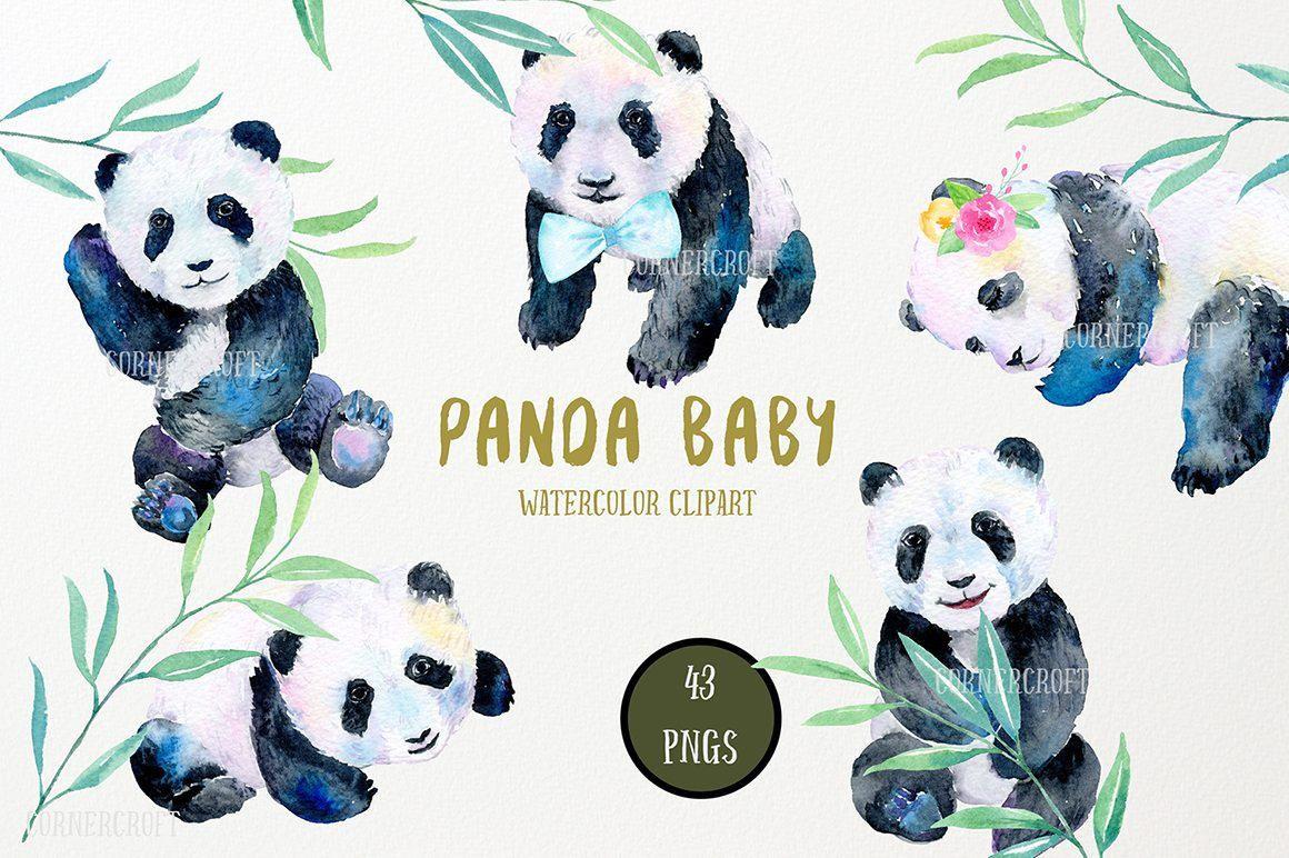 Clipart panda watercolor. Baby instant