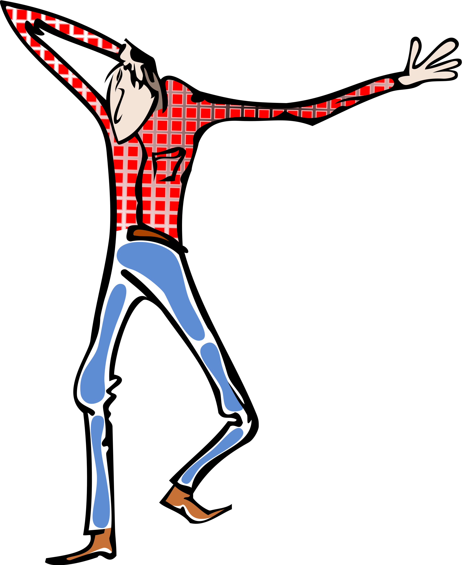 Clipart shirt jeans. Man with red and