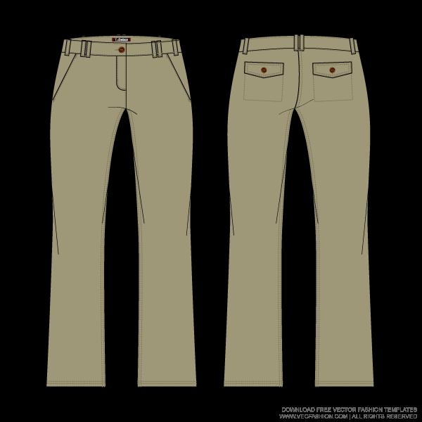 Womens khaki chino vector. Clipart pants jeans tshirt