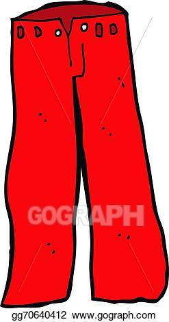 Clipart pants red pants. Vector cartoon illustration