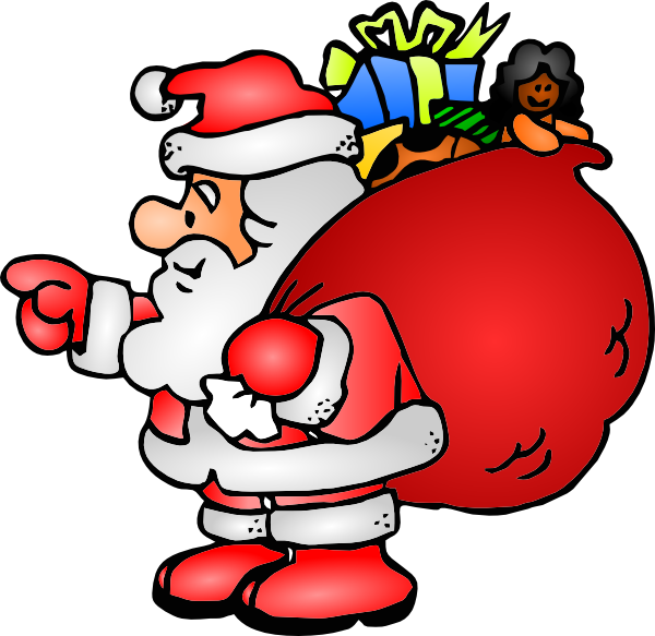 Santa claus with his. Gift clipart sack