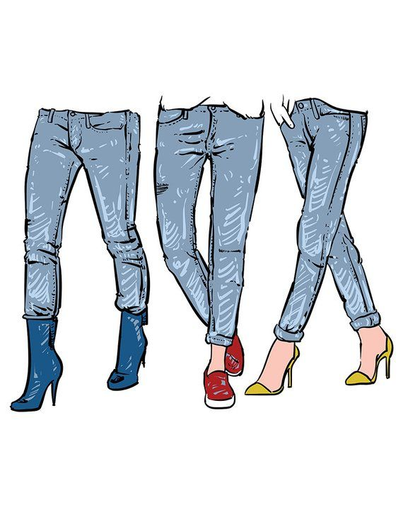 Drawing women s fashionable. Clipart pants skinny jeans