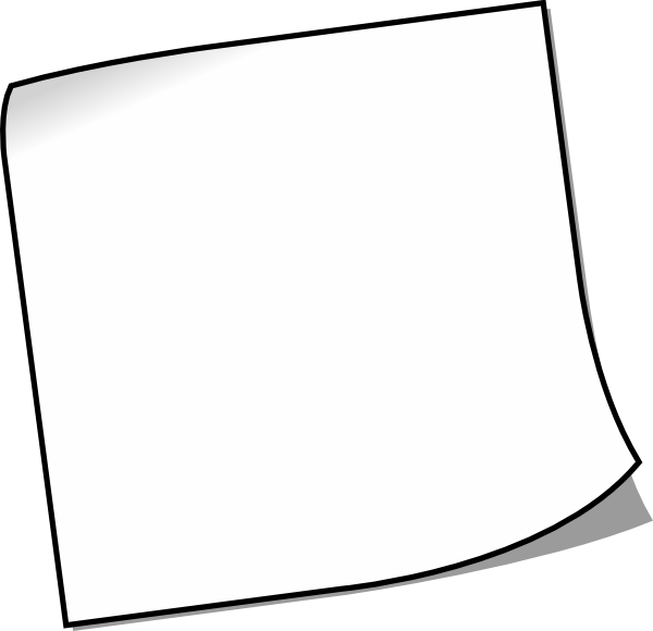 Blank sticky note clip. Square clipart empty