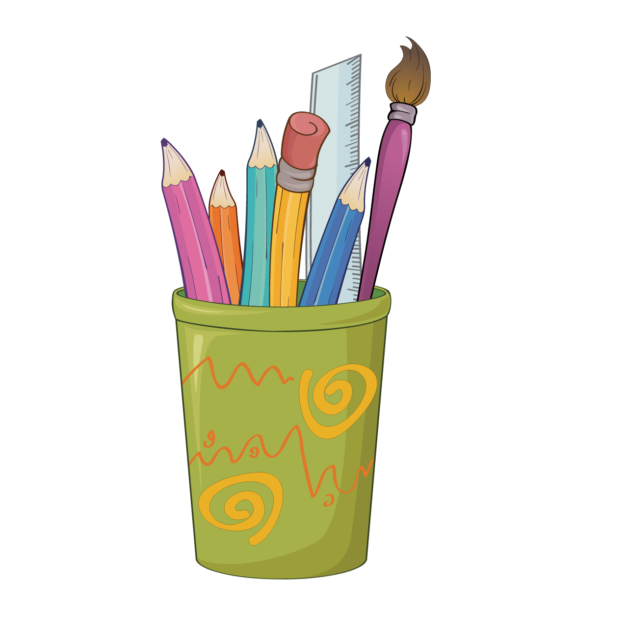 Clipart pencil art supply. Paper colored drawing clip