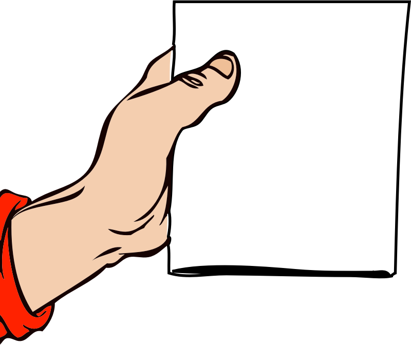 Clipart paper hand holding. Brochure medium image png