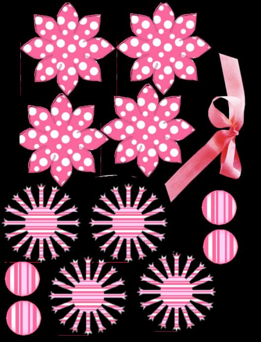 Pink flower cajas carton. Paper clipart pape