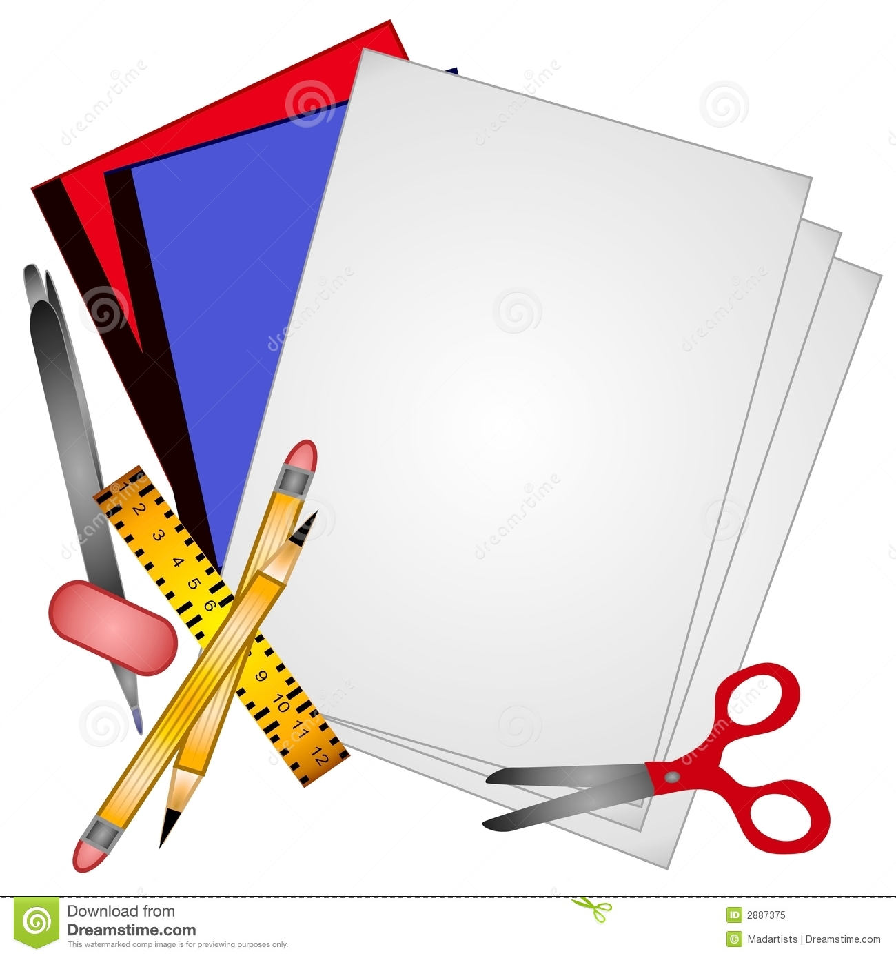 Pencil and free download. Paper clipart school papers