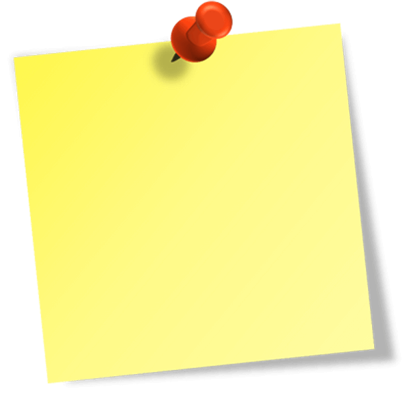 Yellow sticky notes png. Note clipart pinned note