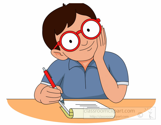 Writer clipart focused student. Writing paper nose boy