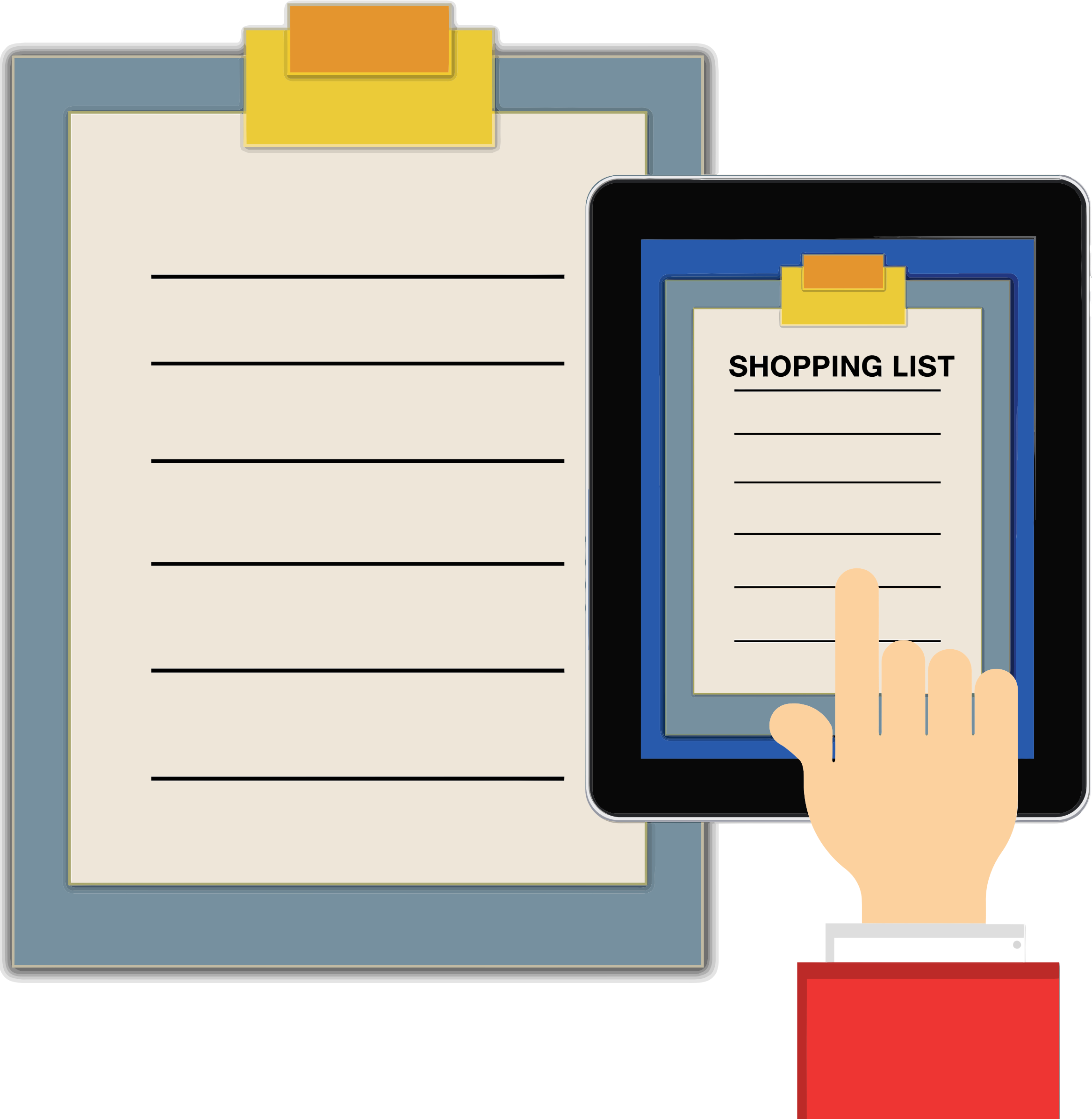 Shopping list clipboard big. Paper clipart tablet