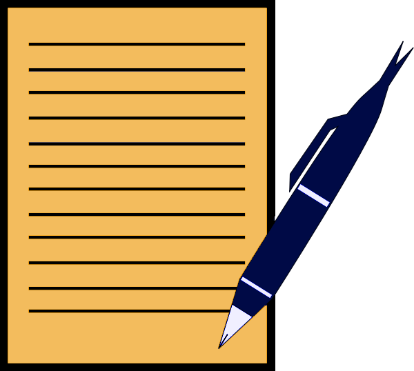 Paper clipart typing a. Pen write education supplies