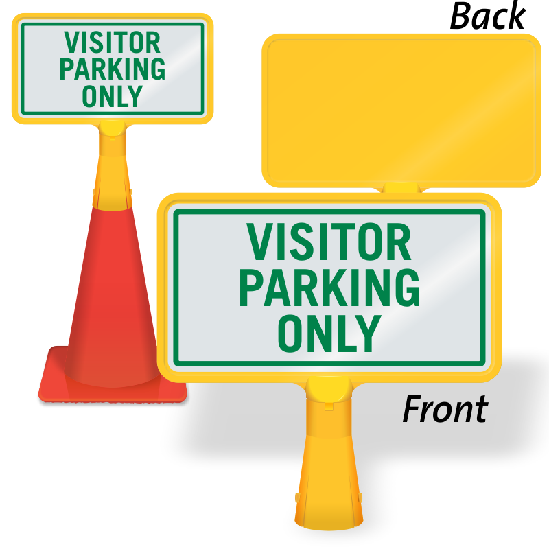 Parking lot clipart valet parking. Visitor only coneboss sign
