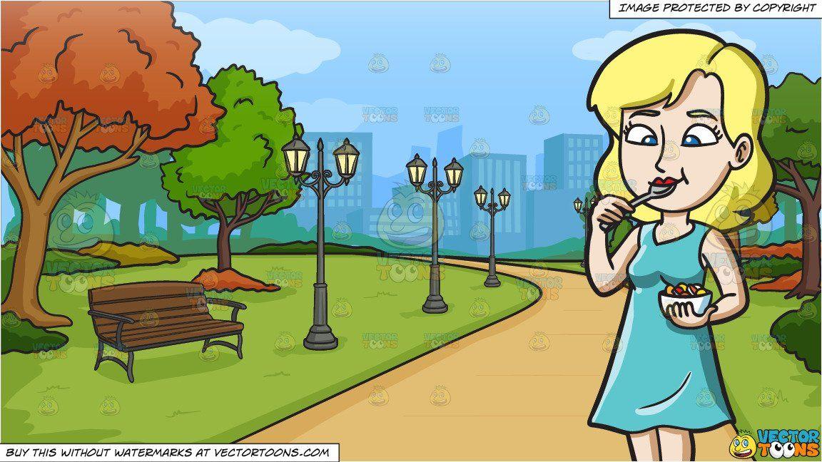 Cartoon a woman snacking. Clipart park city park