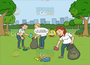 A female volunteer cleaning. Volunteering clipart animated