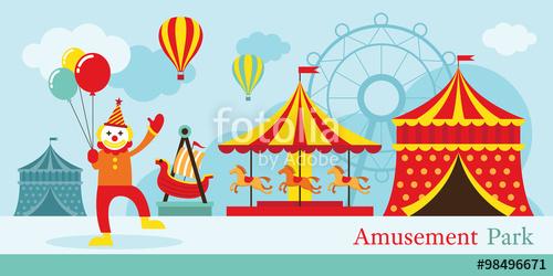 Amusement circus clown carnival. Clipart park fair scene
