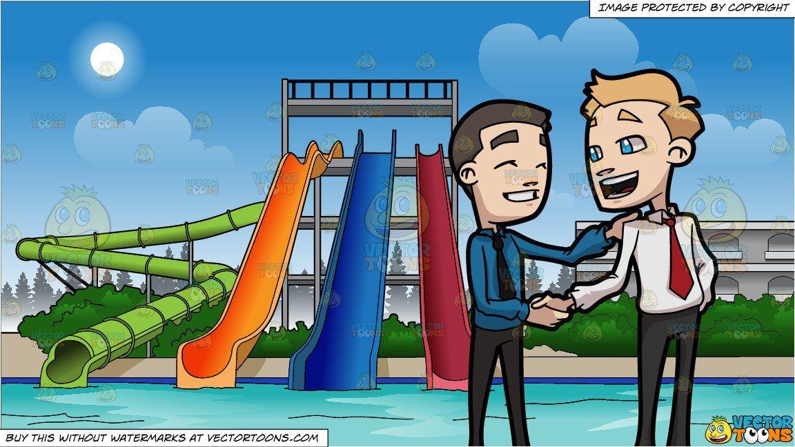 Two business friends shaking. Park clipart friend cartoon