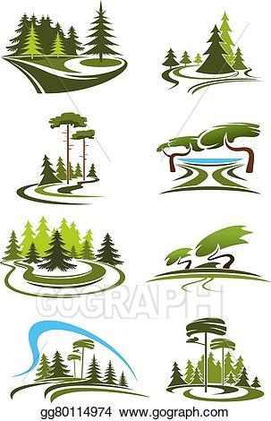Lake clipart scenic. Vector illustration park garden