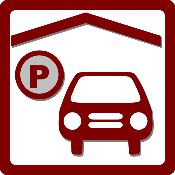 Clipart park icon. Hotel indoor parking red