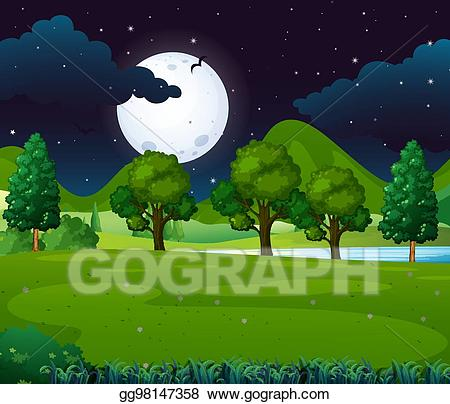 Park clipart night clipart. Vector illustration scene with