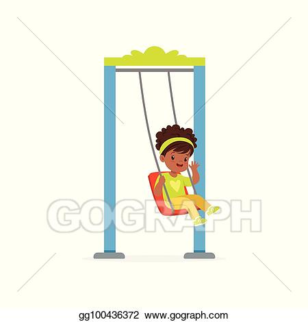 Vector stock cartoon little. Playground clipart outdoor time