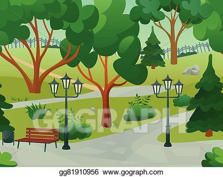 Vector stock illustration clip. Clipart park park landscape