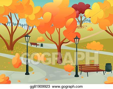 Clipart park park landscape. Eps illustration autumn vector
