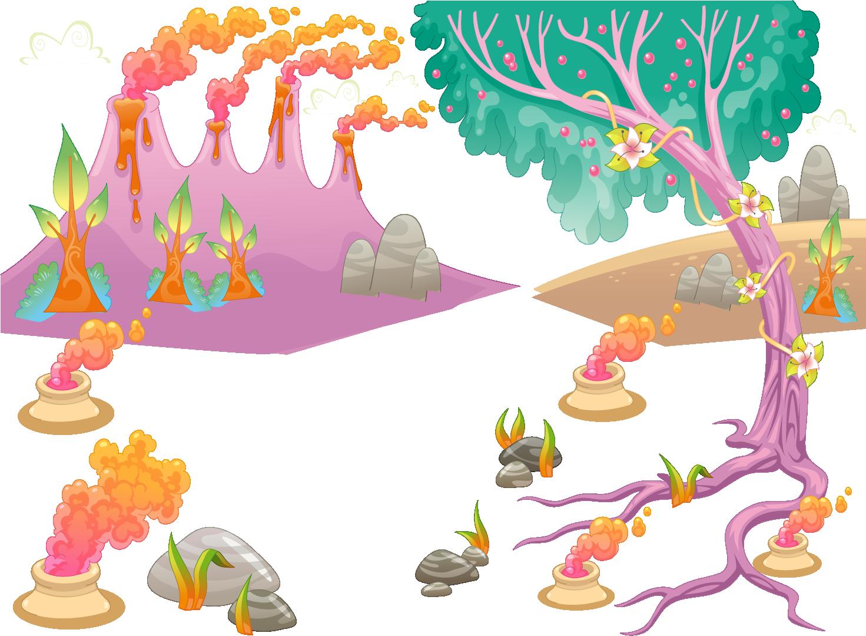 Clipart park park landscape. Cartoon volcano volcanic