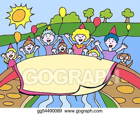 Clipart park park party. Vector illustration stock clip