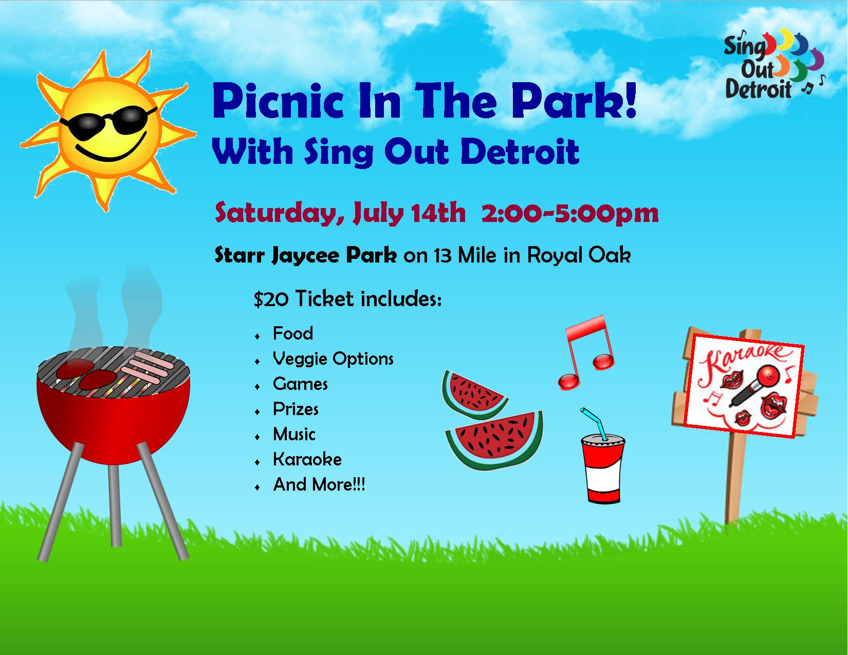 In the with sing. Clipart park picnic