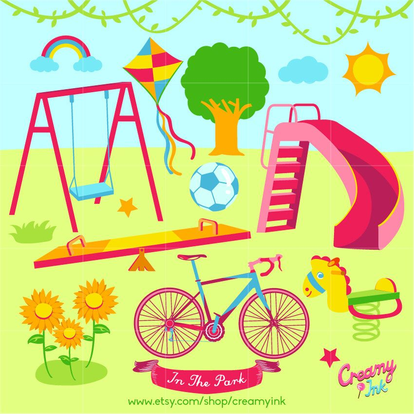 Digital vector clip art. Playground clipart outdoor time