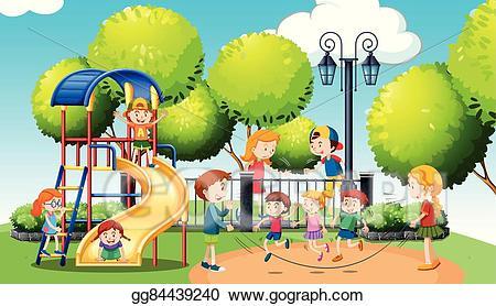 Vector illustration children playing. Clipart park public park