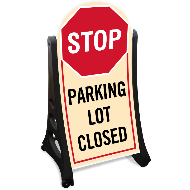 Clipart road sidewalk. Parking lot closed sign
