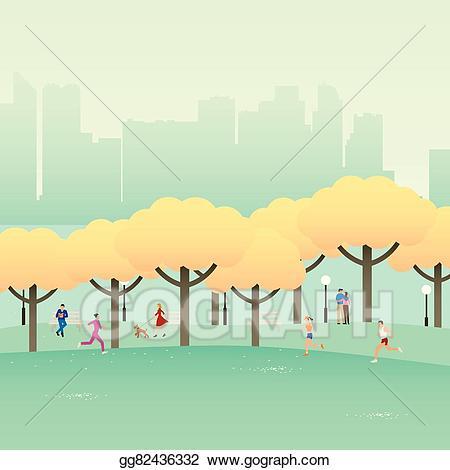 Park clipart simple park. Vector stock city illustration