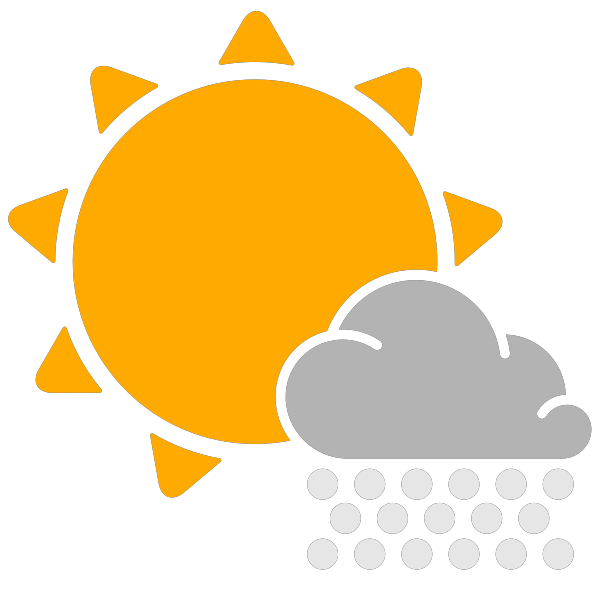 Simple weather icons scattered. Cloudy clipart snow