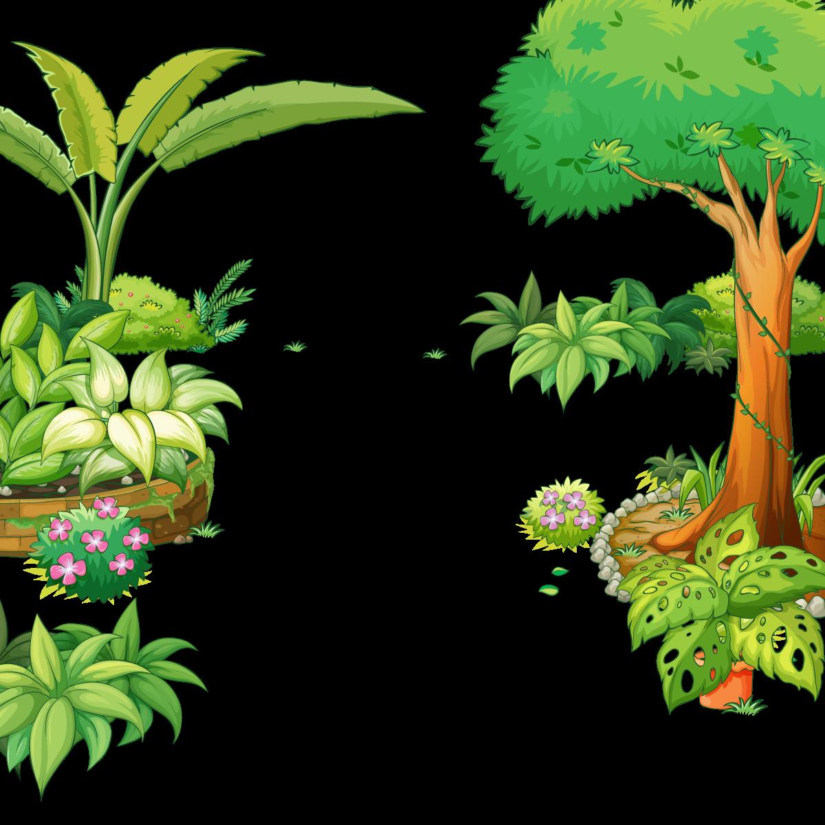 Tree gardening illustration vector. Jungle clipart flora