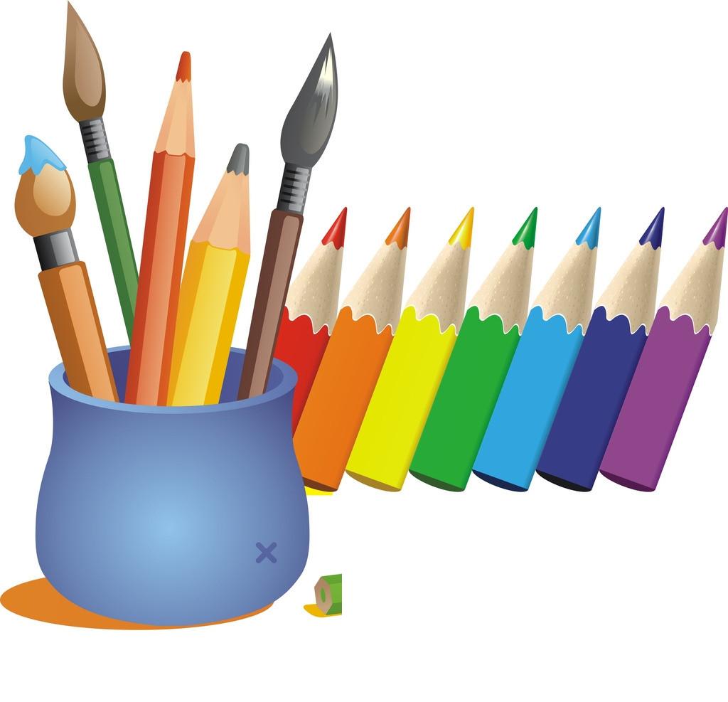 Cartoon color pen transprent. Paintbrush clipart colored pencil