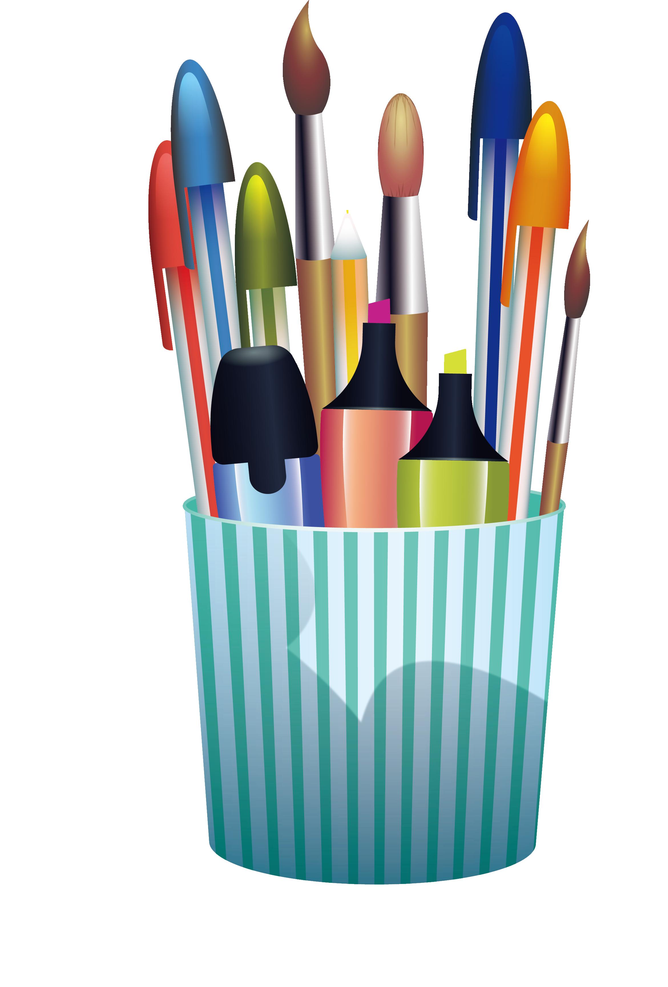 Clip art green stripe. Clipart pencil container