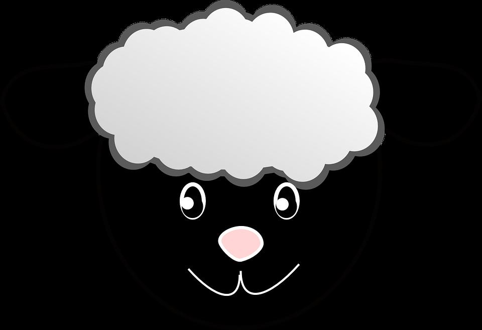 Black face sheep head. Lamb clipart christmas