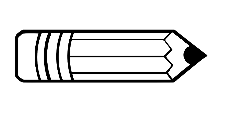 Office pencil free vector. Clipart pen horizontal