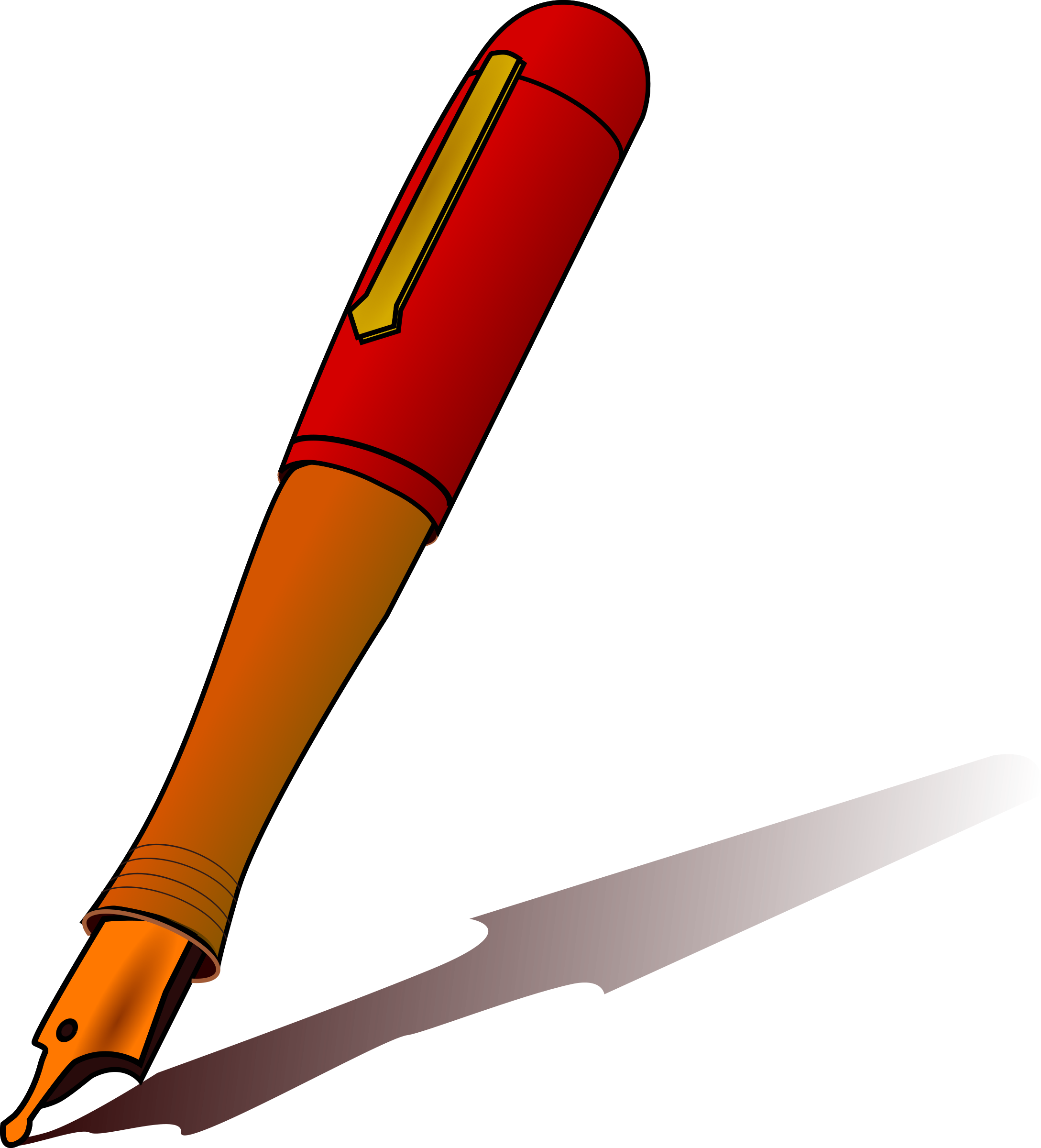 Pen clip black and. Writer clipart kalam