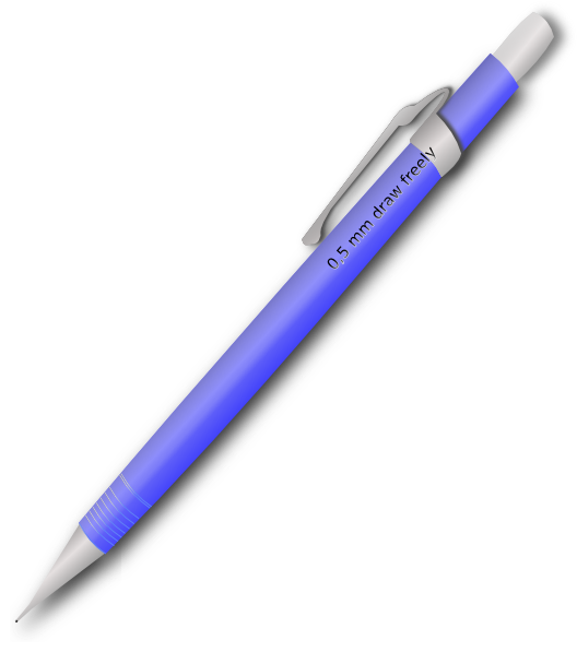 Blue clip art at. Clipart pen mechanical pencil