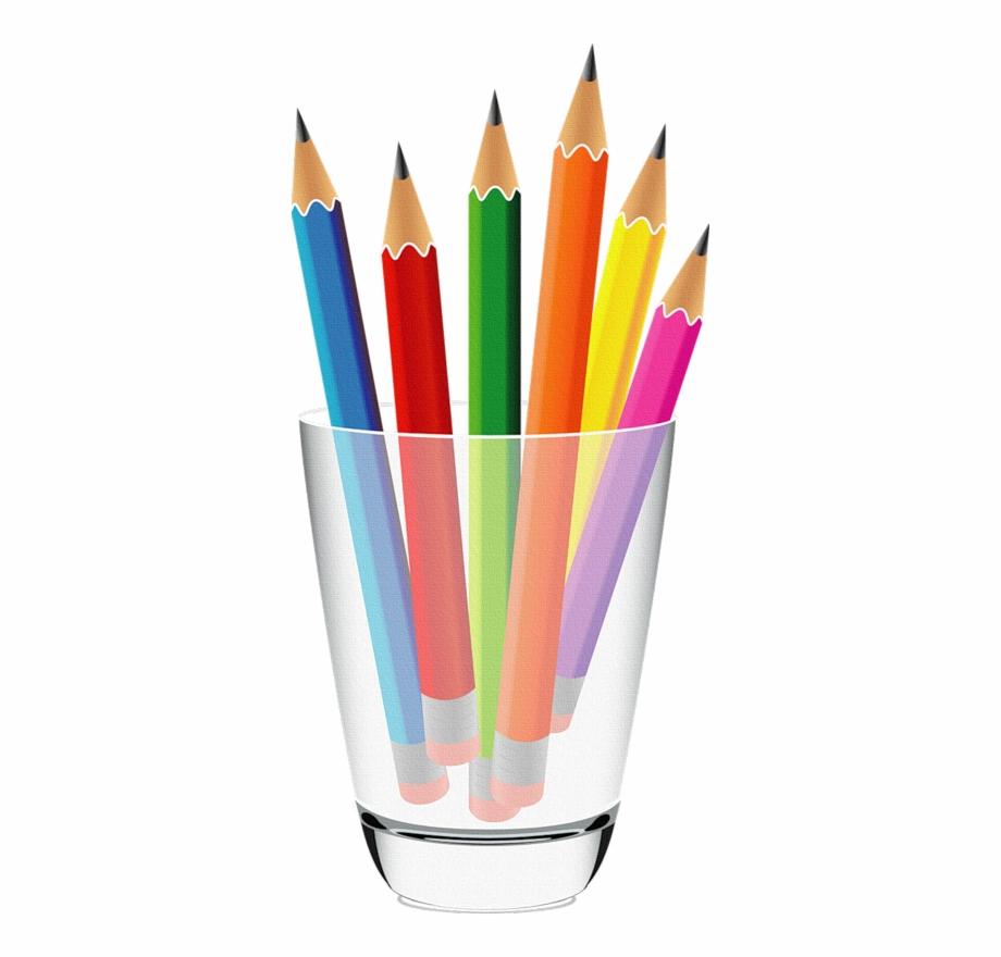 Craft pen and crayon. Crayons clipart pencil cup