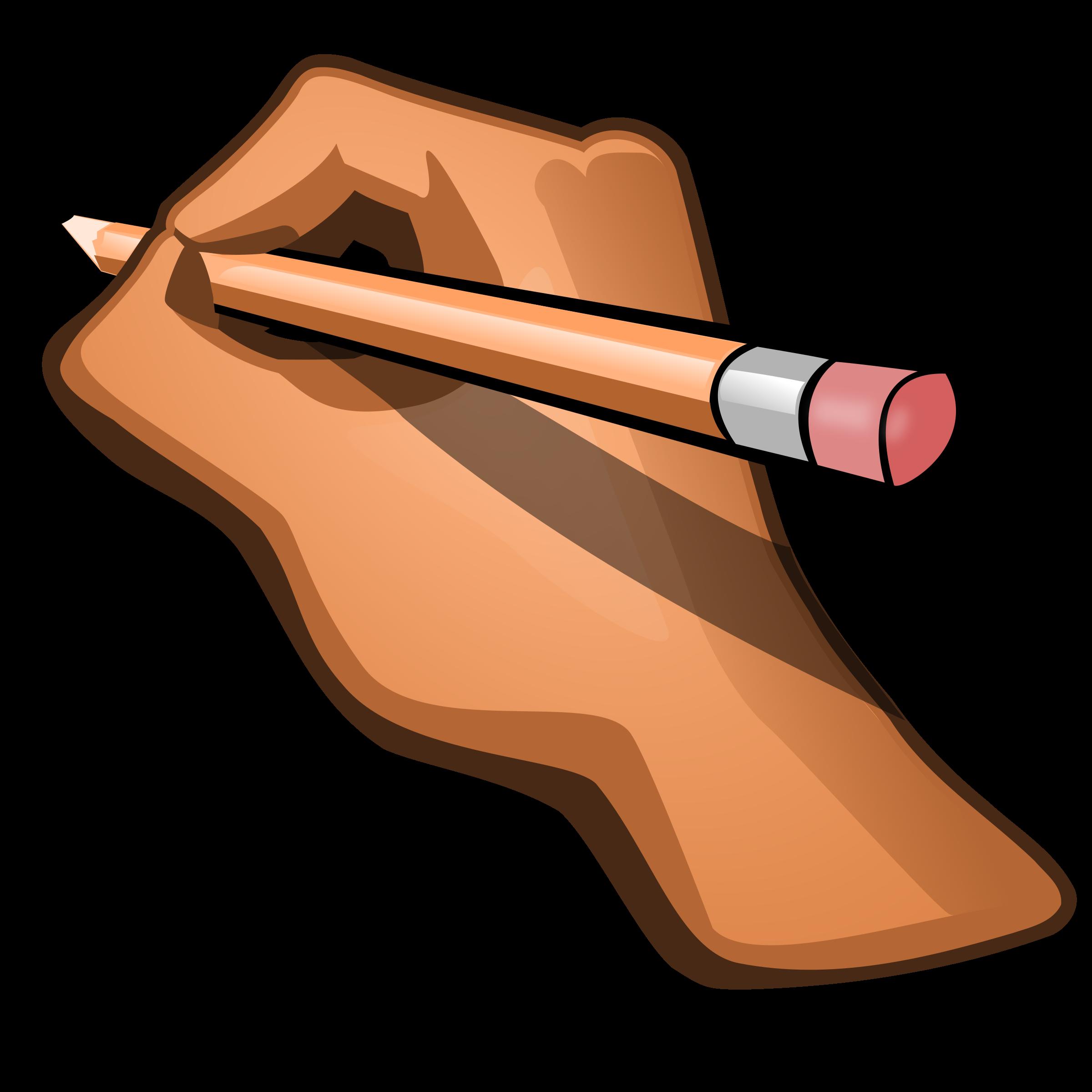 Journal clipart pen. Edit hand holding pencil