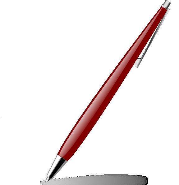 Red glossy pen clip. Paper clipart ballpen