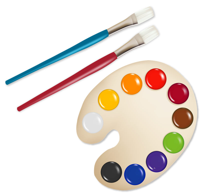 Painting clipart painting board. School supplies drawing clip