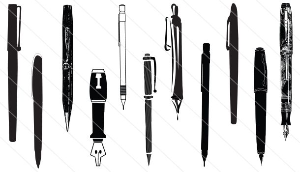 Clipart pen silhouette. Vector clip art