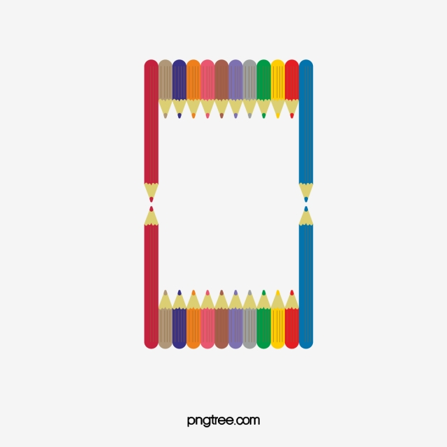 Color border pencils colored. Clipart pencil boarder