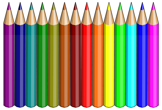Pencil clipart art supply. Rainbow of pencils colored
