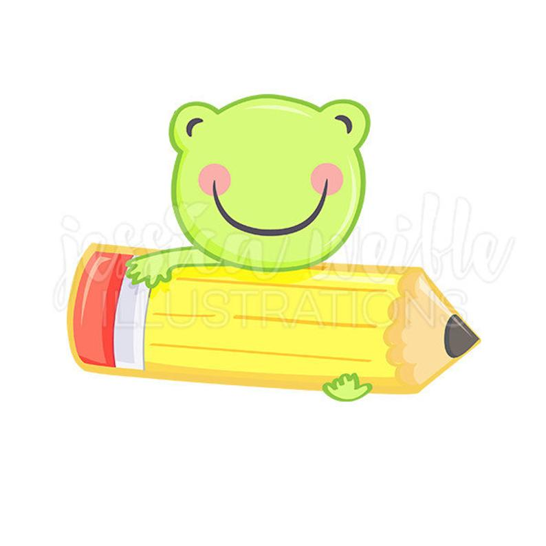 Clipart pencil cute. Frog with digital clip